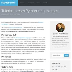 Tutorial - Learn Python in 10 minutes | Stavros' Stuff