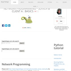 Python Tutorial: Network Programming - Server & Client A : Basics - 2016
