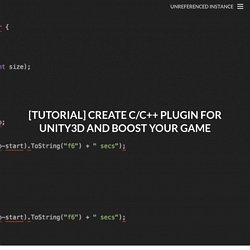 Tutorial - Create C/C++ plugins for Unity3D