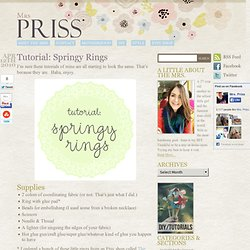 Tutorial: Springy Rings | Motherhood, Frugal Fashion & Thrifty Living |...