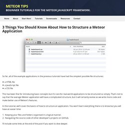 Tutorial - How To Structure a Meteor Application