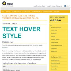CSS3 Tutorial for Text Hover Transitionto change the color