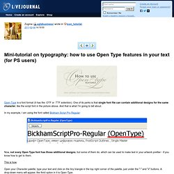 tutorial: Mini-tutorial on typography: how to use Open Type features in your text (for PS users)