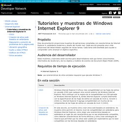 Tutoriales y muestras de Internet Explorer 9 (Windows)