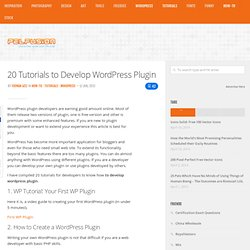 20 Tutorials to Develop Wordpress Plugin | How-To | PelFusion.com