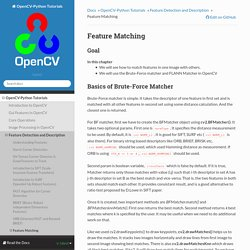 Feature Matching — OpenCV-Python Tutorials 1 documentation