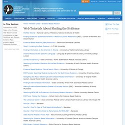 Web Tutorials About Finding the Evidence