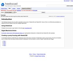 Tutorials - heekscad - Non-video tutorials and other long form articles about HeeksCAD - Free CAD based on Open CASCADE