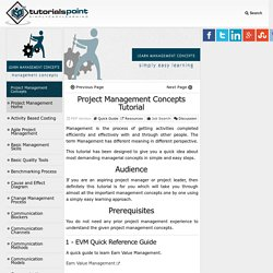 Tutorials on Project Management Concepts