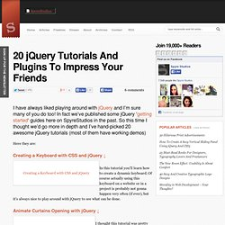 Impress Your Friends With These 20 jQuery Tutorials