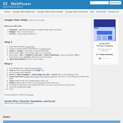 Google Sites Slider + Template - Google Sites: Tutorials, Templates, Tips and Tricks by Seowebpower