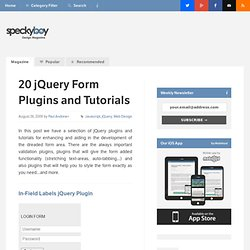 20 jQuery Plugins and Tutorials to Enhance Forms