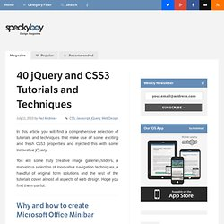 40 jQuery and CSS3 Tutorials and Techniques :Speckyboy Design Magazine