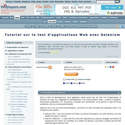 Tutoriel sur le test d'applications Web avec Selenium