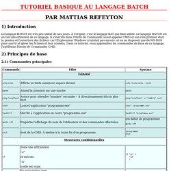 TUTORIEL DE BASE AU LANGAGE BAT