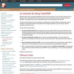 Le tutoriel du blog CakePHP