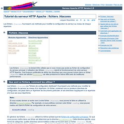 Tutoriel Apache : fichiers .htaccess