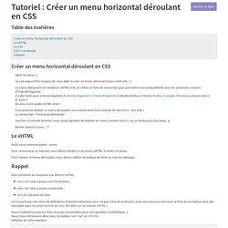 Tutoriel : Créer un menu horizontal déroulant en CSS