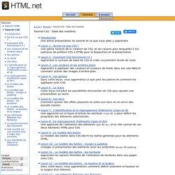 Tutoriel CSS - Table des matières - Tutoriel CSS