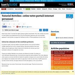 Définir une mise en page : Tutoriel Netvibes : créez votre portail Internet personnel