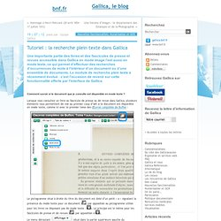 Tutoriel : la recherche plein texte dans Gallica