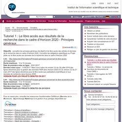 Tutoriel 1 : Le libre accès aux résultats de la recherche dans le cadre (...)