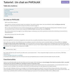 Tutoriel : Un chat en PHP/AJAX