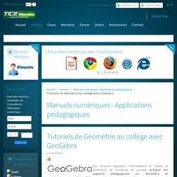 Tutoriels de Géométrie au collège avec GeoGebra