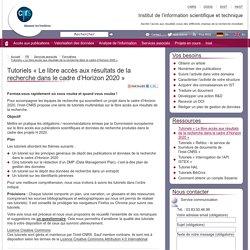 Tutoriels « Le libre accès aux résultats de la recherche dans le cadre (...)