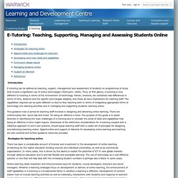 E-Guide: E-Tutoring: Designing and supporting online learning
