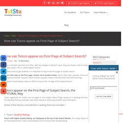 How can Tutors appear on First Page of Subject Search?