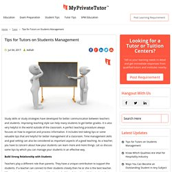 Tips for Tutors on Students Management