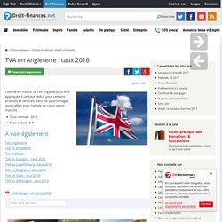 TVA en Angleterre : taux 2016