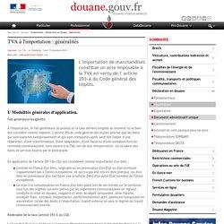 TVA à l'importation : généralités