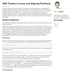SSD Tweaks in Linux and Aligning Partitions