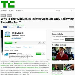 Why Is The WikiLeaks Twitter Account Only Following TweetBackup?