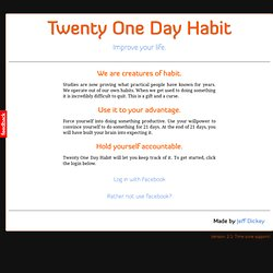Twenty One Day Habit