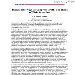 Twenty-Five Ways To Suppress Truth: The Rules of Disinformation