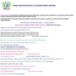 TONGUE TWISTERS FOR KIDS, CHILDREN'S ENGLISH TONGUE TWISTERS