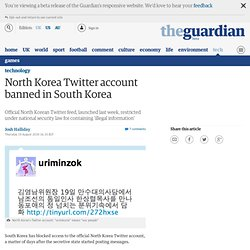 North Korea Twitter account banned in South Korea