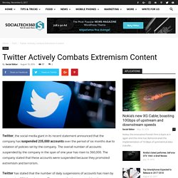 Twitter Actively Combats Extremism Content