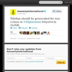 AmnestyInternational: Taleban should be prosecut