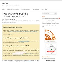Twitter Archiving Google Spreadsheet TAGS v3 Jisc CETIS MASHe