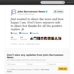 John Barrowman News: Just wanted to share the n