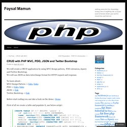 CRUD with PHP MVC, PDO, JSON and Twitter Bootstrap