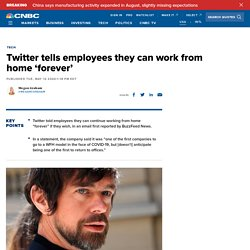 Twitter tells employees they can work from home 'forever'