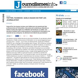 Twitter, facebook: quels usages en font les journalistes?