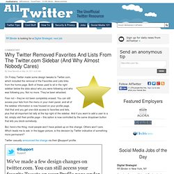 Why Twitter Removed Favorites And Lists From The Twitter.com Sidebar (And Why Almost Nobody Cares)