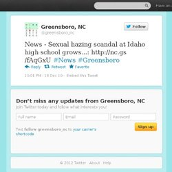 Greensboro: News - Sexual hazing scand