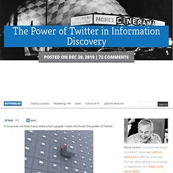 The Power of Twitter in Information Discovery
